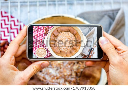 Phone vegan food photo of apple tart, pie. Create blog content photography with smartphone. Overhead, flat lay picture.