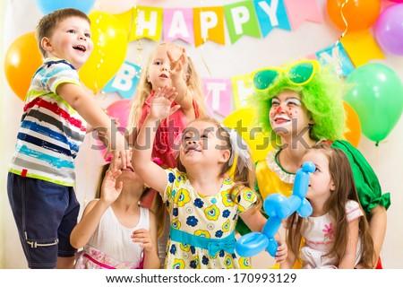 children celebrating  birthday party  merrily #170993129
