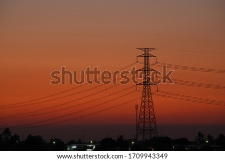 High voltage pole pictures During Twilight Life There is beautiful light. Suitable for use as illustrations of content.