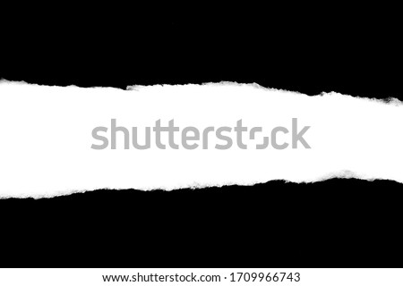 Isolated Rough Torn Rip Paper Cardboard Cut Stripe Piece Sheet Edge. Overlay Surface Texture Background.  #1709966743