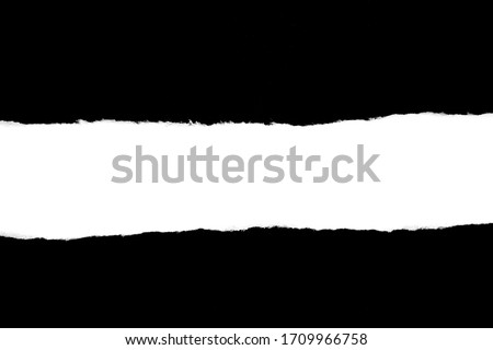 Isolated Rough Torn Rip Paper Cardboard Cut Stripe Piece Sheet Edge. Overlay Surface Texture Background.  #1709966758