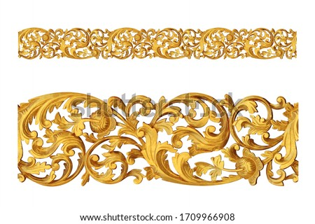 Rococo pattern frame border, vintage modern borders, border design grunge banner pattern, certificate. Wedding border. Wedding ornament. isolated on white background. This has clipping path. Royalty-Free Stock Photo #1709966908
