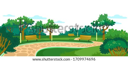 Park with wooden benches, lawn and green trees vector illustration. Walkway with bushes and lanterns cartoon design. Place for family rest and nature concept Royalty-Free Stock Photo #1709974696
