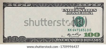 U.S. 100 dollar border with empty middle area Royalty-Free Stock Photo #1709996437