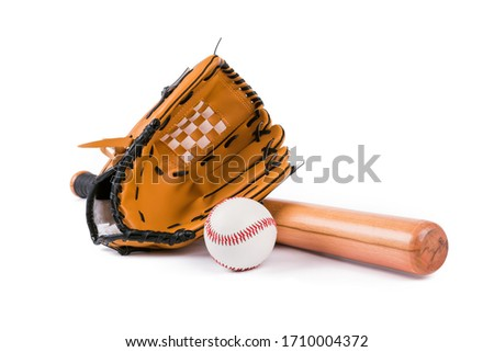 Baseball bat, ball and glove isolated over white background Royalty-Free Stock Photo #1710004372