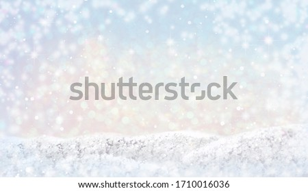 Winter Merry christmas and happy new year  background. Beautiful snowdrifts with light, bokeh circles, snow flakes. Copy space, banner