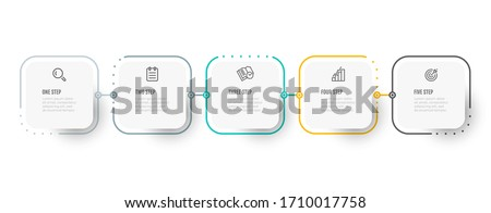 Business infographic thin line process with square template design with icons and 5 options or steps. Vector illustration. #1710017758