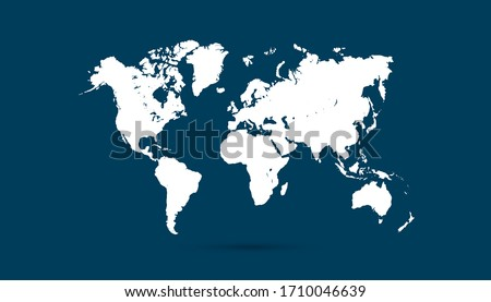 World map blue vector modern