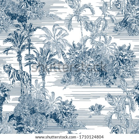 Toile Engraving Tropical Islands Seamless Pattern, Oriental Palm Trees Wallpaper, Wildlife Tigers in Exotic Plants Ocean Beach Blue on White Background, Linear Jungle Oceania India Landscape Print #1710124804