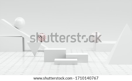 3D Rendering abstract minimal white showcase, mockup for product scene, abstract geometric shape group on  white background.