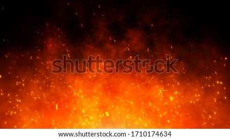 Fire embers particles over black background. Fire sparks background. Abstract dark glitter fire particles lights. #1710174634