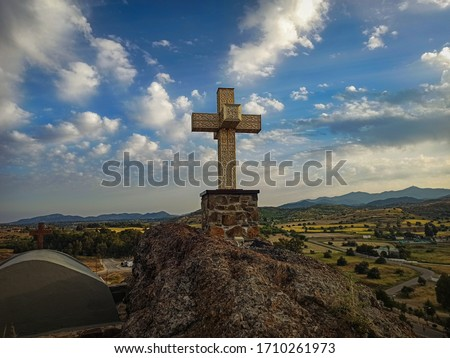 Agia Marina old church in cyprus! This pic illustrates the cross in the peak of the mountain