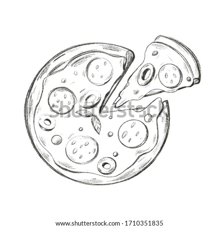 Round pizza with pepperoni, olives with cut off triangular piece sketch simple pencil digital art. Print for cards, banners, posters, menus, restaurants, cuisine, fabrics, stickers
