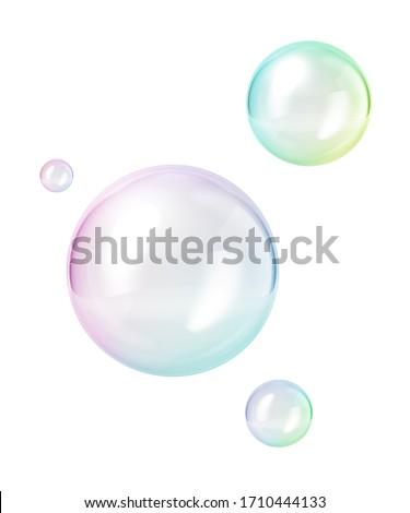 3d render, abstract clear soap bubbles isolated on white background, minimal concept, clean style. Levitating ball, flying translucent glass sphere, floating on air. Childish clip art. Design elements