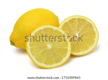 Close up,Sliced lemons fruit and lemon isolated on white background. #1710489865