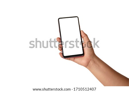 The hand is holding the white screen, the mobile phone is isolated on a white background with the clipping path. #1710512407