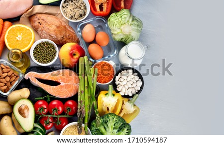 Balanced diet food background.. Nutrition, clean eating food concept. Diet plan with vitamins and minerals Royalty-Free Stock Photo #1710594187