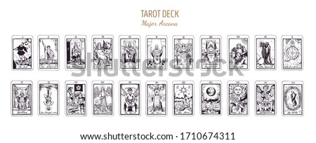 Big Tarot card deck.  Major arcana set part  . Vector hand drawn engraved style. Occult and alchemy symbolism. The fool, magician, high priestess, empress, emperor, lovers, hierophant, chariot #1710674311