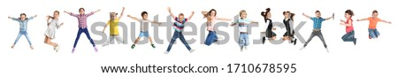 Collage of emotional children jumping on white background. Banner design