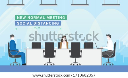 Business meeting lifestyle after pandemic covid-19 corona virus. New normal is social distancing and wearing mask. People keeping distance in office conference room. Flat design style vector concept. #1710682357