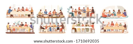 Collection of scenes with family at festive dinner. Children, parents and grandparents eating national dishes together. Holiday meal in various countries. Vector illustration in flat cartoon style #1710692035