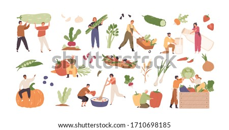 Set of various tiny people with different food and products isolated on white background. Collection of cartoon person with organic farm harvest vegetable, drink and meal vector graphic illustration #1710698185