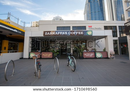 GOLD COAST, AUSTRALIA - MAY 06: Surfers Paradise, It's a one of the most popular holiday place. The suburb has many high-rise apartment buildings, restaurant and a wide surf beach on May 06, 2016 #1710698560
