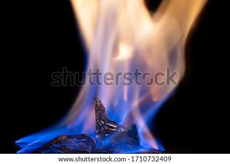 Abstract photo of burning ice on black background. #1710732409