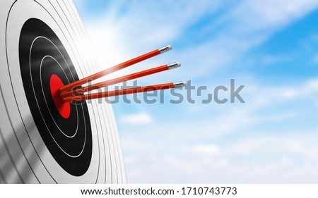 background for business. Successfully Target board with red pencil on sky in morning. concept trick accuracy, on target, achievement, perfection, and accomplishment. Royalty-Free Stock Photo #1710743773