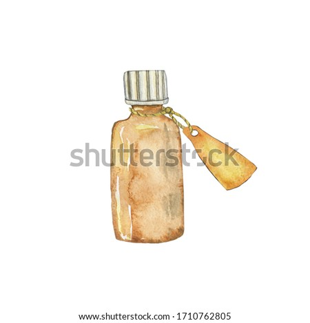 Glass brown bottle for essential oil with label isolated on white background. Watercolor hand drawing illustration for cosmetic design. Clip art.
