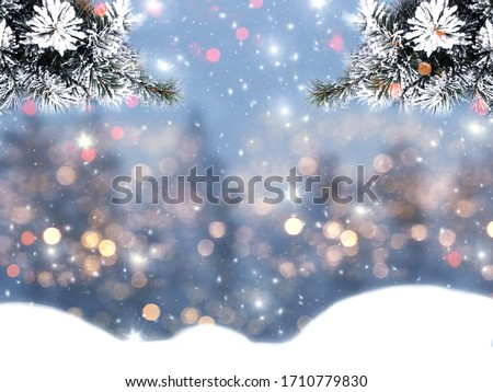 winter christmas background with snow fir branches cones on forest background #1710779830