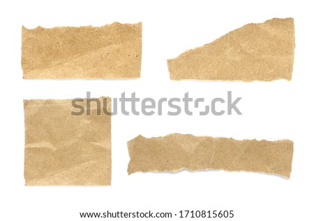 Recycled paper craft stick on a white background. Brown paper torn or ripped pieces of paper isolated on white background. Royalty-Free Stock Photo #1710815605