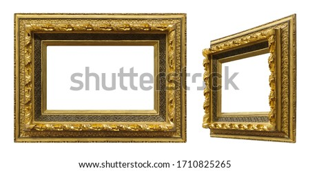Golden frame for paintings, mirrors or photo in frontal and perspective view isolated on white background