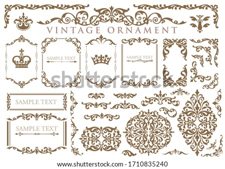 vintage floral ornament. decorative vector frames and borders. Royalty-Free Stock Photo #1710835240