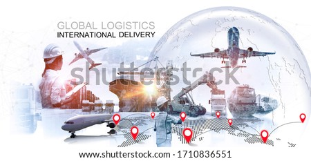 Asian female dock worker control loading Containers box to truck for Logistic Import Export Background, Business logistic concept, import and export cargo concept  Royalty-Free Stock Photo #1710836551