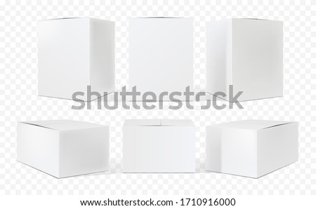 Blank cardboard package boxes. Box set mockup. Three templates, layout of boxes in different positions with a shadow for design or branding - Vector EPS 10 Royalty-Free Stock Photo #1710916000