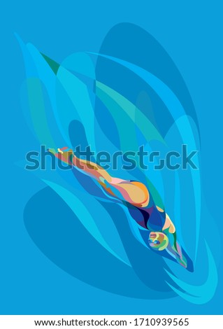swimmer diving into the water #1710939565