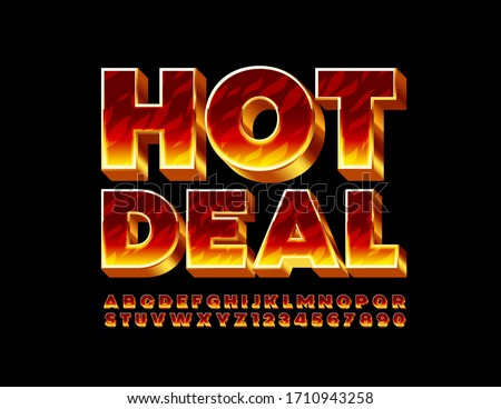 Vector creative emblem Hot Deal with Fire 3D Font. Burning Alphabet Letters and Numbers Royalty-Free Stock Photo #1710943258