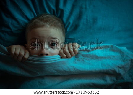child was terrified. the child is afraid of the dark. tormented by nightmares and terrible dreams in children #1710963352