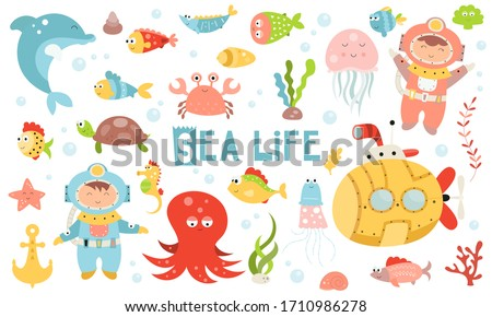 Cute sea life set. Hand drawn. Doodle cartoon underwater animals and fishes for nursery posters, cards, t-shirts. illustration. Ocean fish, octopus, submarine, diver.