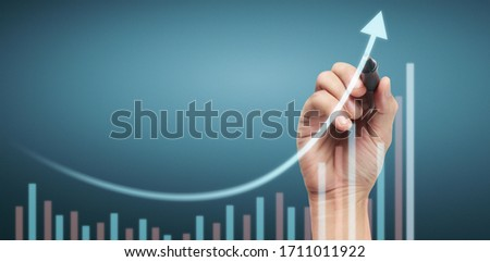 Hand drawing a chart, graph stock of growth #1711011922