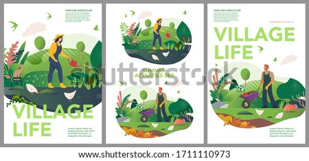 Vector spring and summer posters set. Happy Spring and summer. Farm and agriculture. Vector cute illustrations of village life and objects for poster, banner or postcard. #1711110973