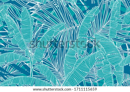 Tropical leaves pattern. Seamless texture with banana leaves and palm tree leaf.  Banner for the travel and tourism industry, summer season. Blue floral design element, print for fabrics. #1711115659
