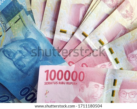 Indonesian rupiah banknotes series with a value of one hundred thousand rupiah Rp 100,000 issued since 2004, Indonesian rupiah as a background