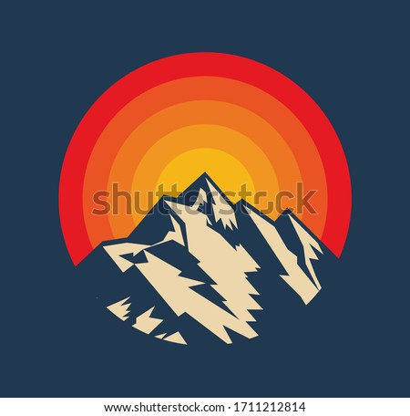 Sunset above mountains peak silhouette. Vintage styled mountain logo or sticker or poster template. Vector illustration Royalty-Free Stock Photo #1711212814