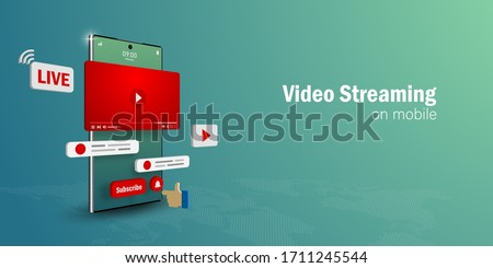 Video Live Streaming Concept, Watch and Live a video streaming on smartphone with social media, Web banner with copy space Royalty-Free Stock Photo #1711245544