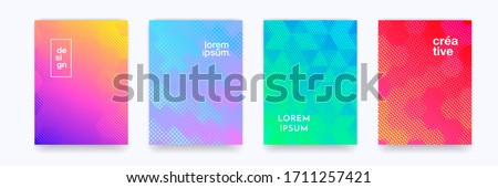Color gradient background, geometric halftone pattern, vector abstract trendy line graphic design. Simple minimal elements in halftone color gradient, modern pattern backgrounds #1711257421