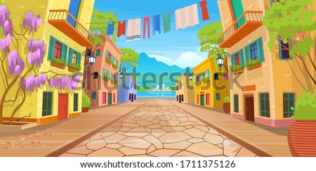Road panorama  over a street with lanterns and washed clothes. Vector illustration of  summer street in cartoon style. Royalty-Free Stock Photo #1711375126