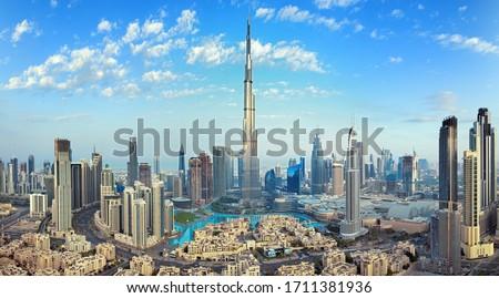 Dubai - amazing city center skyline with luxury skyscrapers, United Arab Emirates Royalty-Free Stock Photo #1711381936