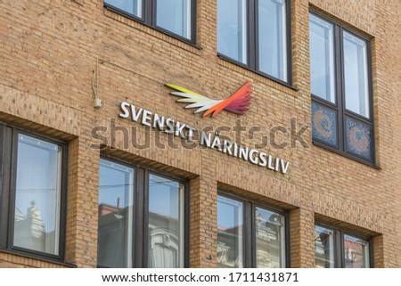 Gothenburg, Sweden - April 14, 2020: Logo of Swedish Enterprise in central Gothenburg. #1711431871